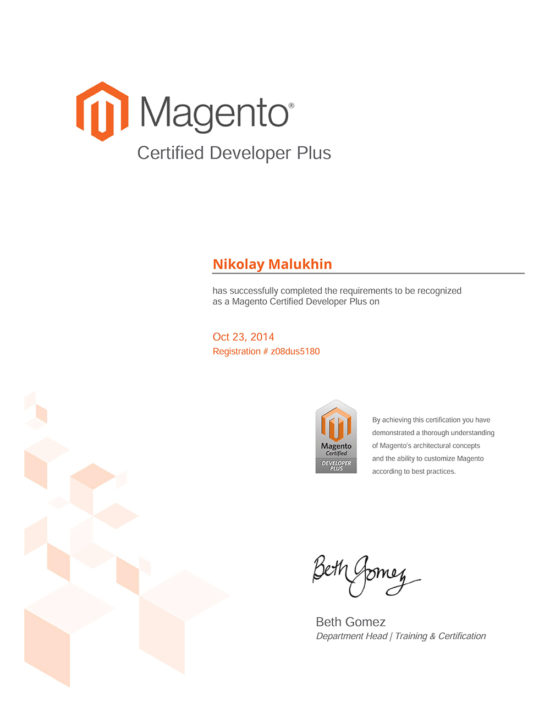 Magento Certification – Nikolay Malukhin