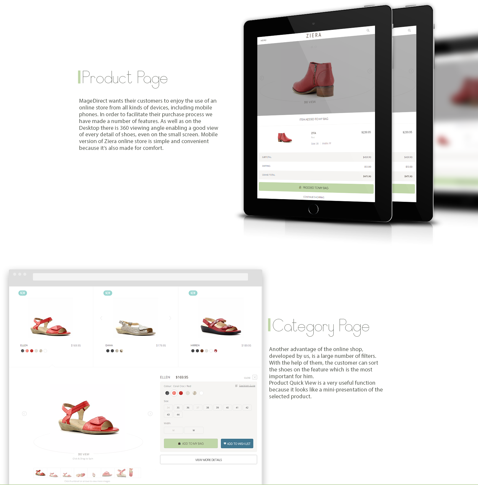 product page & category page