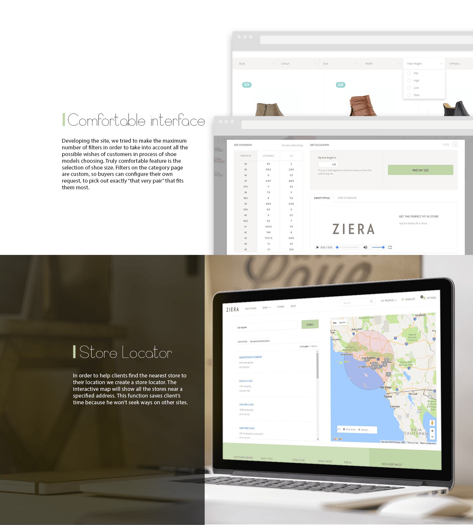 comfortable interface and store locator