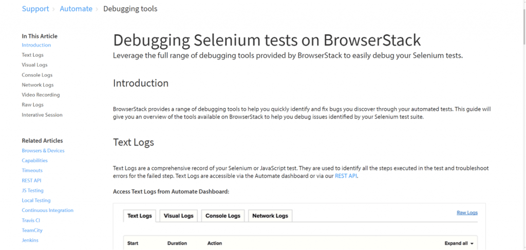 Debugging Selenium Tests