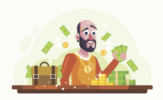 Rich-Man-with-Money-and-Gold-Vector-Illustration-550x338